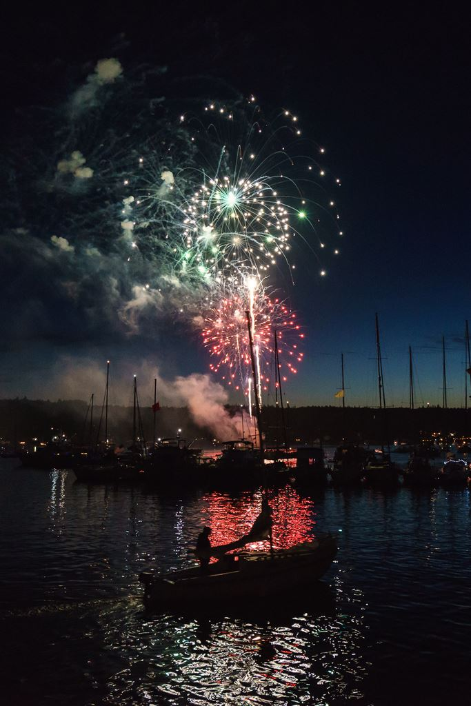 Nighttime Fireworks Display over Water