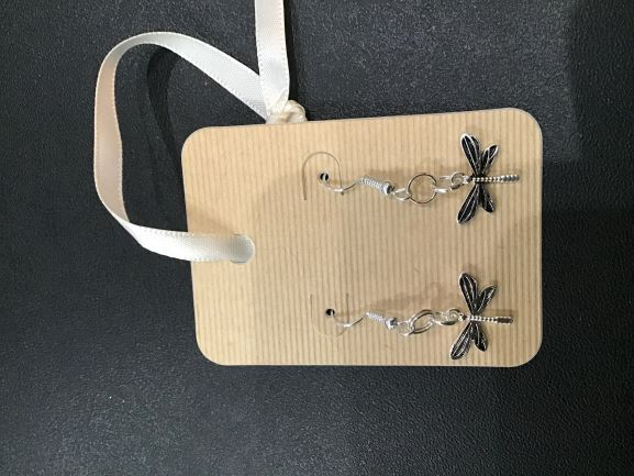SMALL SILVER DRAGONFLY EARRINGS