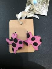 PINK COWHIDE HEART EARRINGS - click to view details