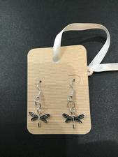 SMALL SILVER DRAGONFLY EARRINGS - click to view details