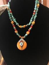 RD AMBER PENDANT/TURQUOIS - click to view details