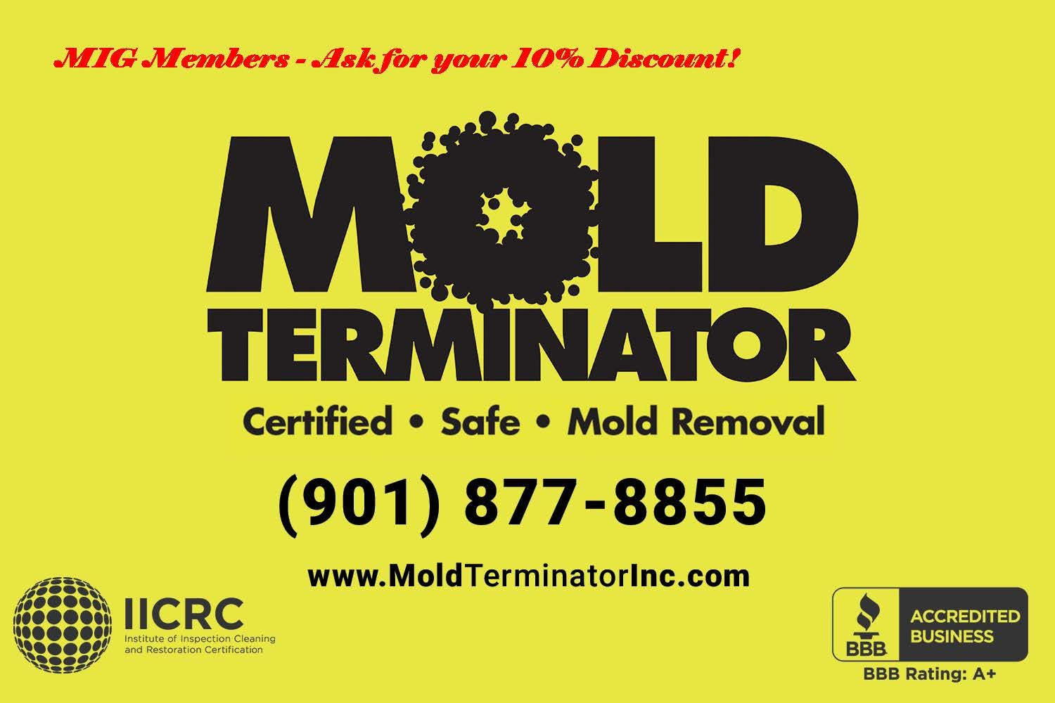 Mold Terminator Logo with 10 percent discount
