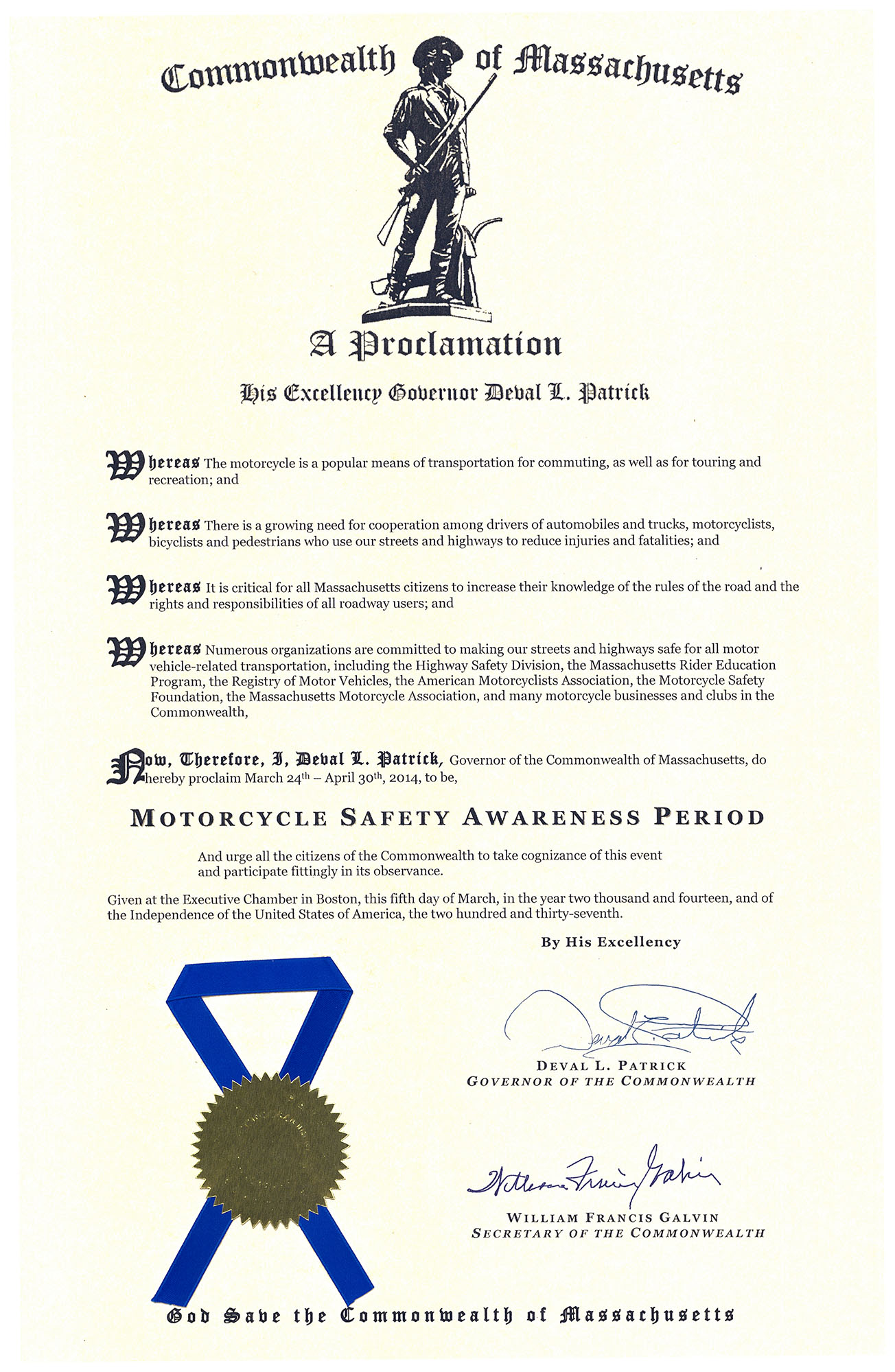 2014 MA Motorcycle Safety Awareness Period Proclamation