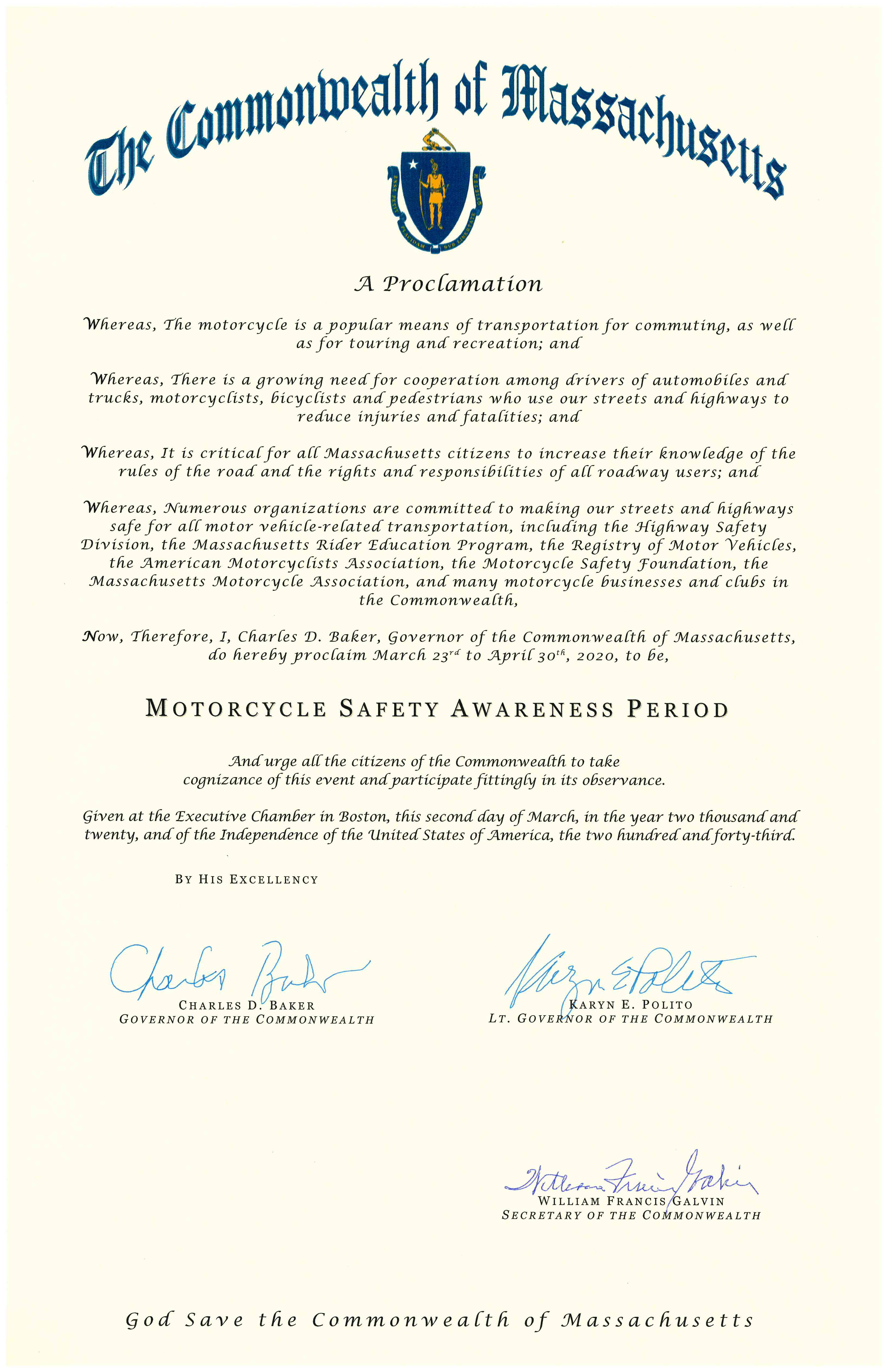 2020 Motorcycle Safety Awareness Proclamation