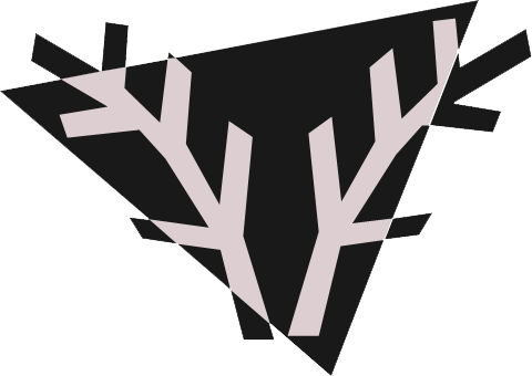 Triangular logo with two tree branches arching to the left and right.