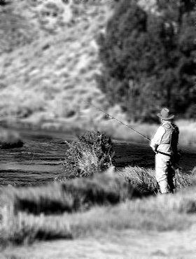 Jim McCombs fishing Hot Creek, Sept. 2008