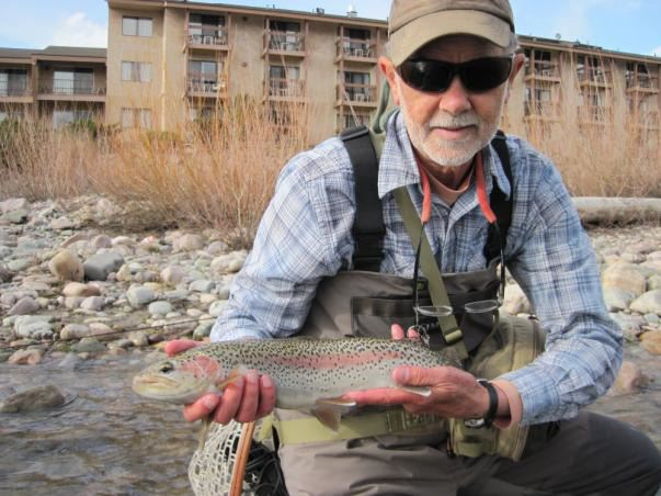 "I have attached pictures of two fish, one Bruce's and one mine, among others caught about an hour after we arrived at the hotel, just outside on the Clark Fork river in Missoula. Fish are over 20""."