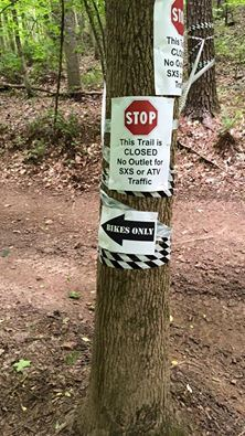 Please respect these when you see them. The trail turns to single track and there is no outlet for four wheel traffic.