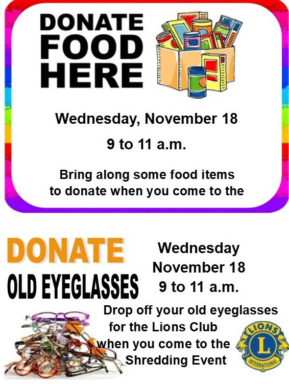 Food Drive & Donate Eyeglasses