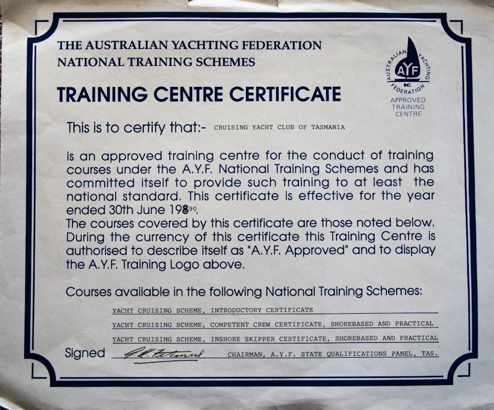 CYCT approved training centre for Australian Yachting Federation