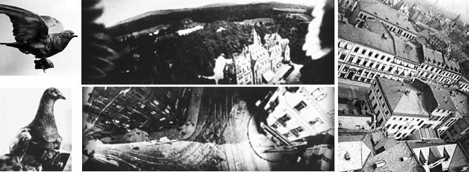 Early aerial photographs taken from pigeon mounted cameras