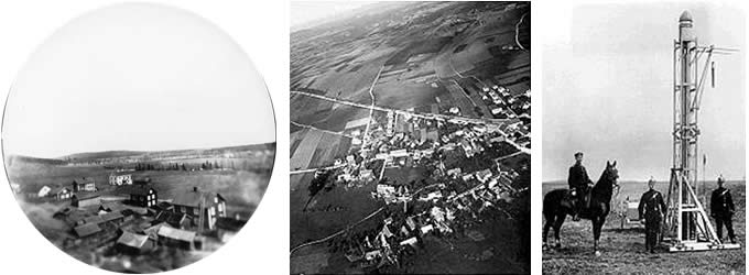 Early aerial photographs taken from rocket mounted cameras