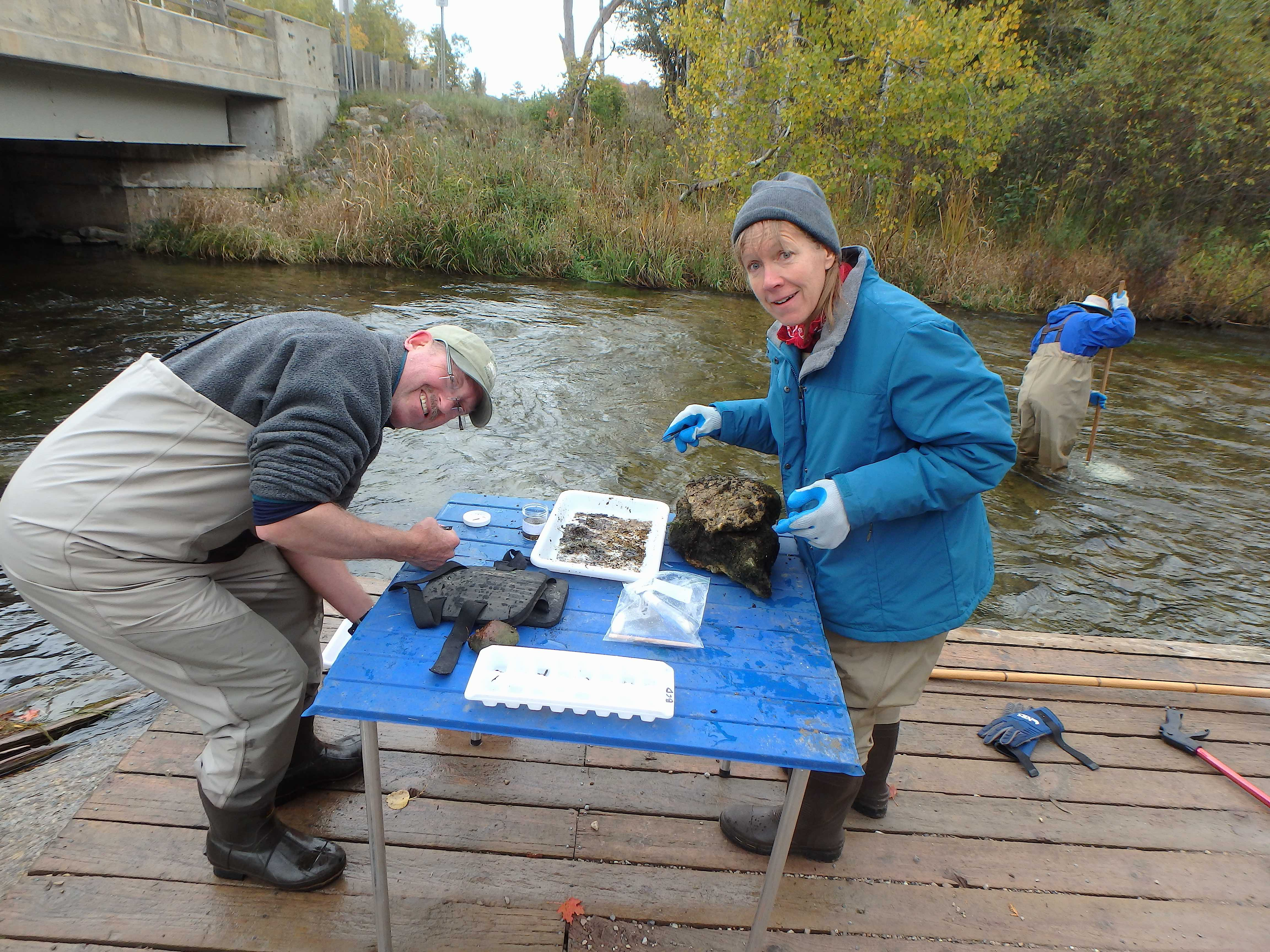 "Sorting with John Walton doing a ""bug dance"" in the Platte"