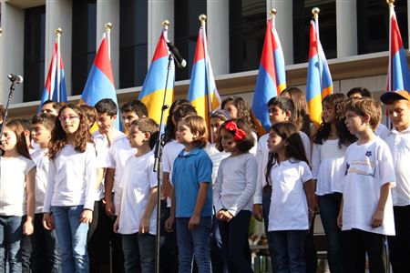 A group of AYF Juniors participated in the Armenian Independence Day Celebration in 2015 at the Glendale City Hall.