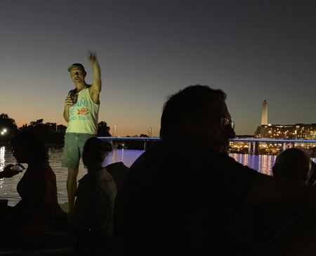 POWYC members and their guests moored to the ball in the DC Channel to share a few drinks and watch the sunset.