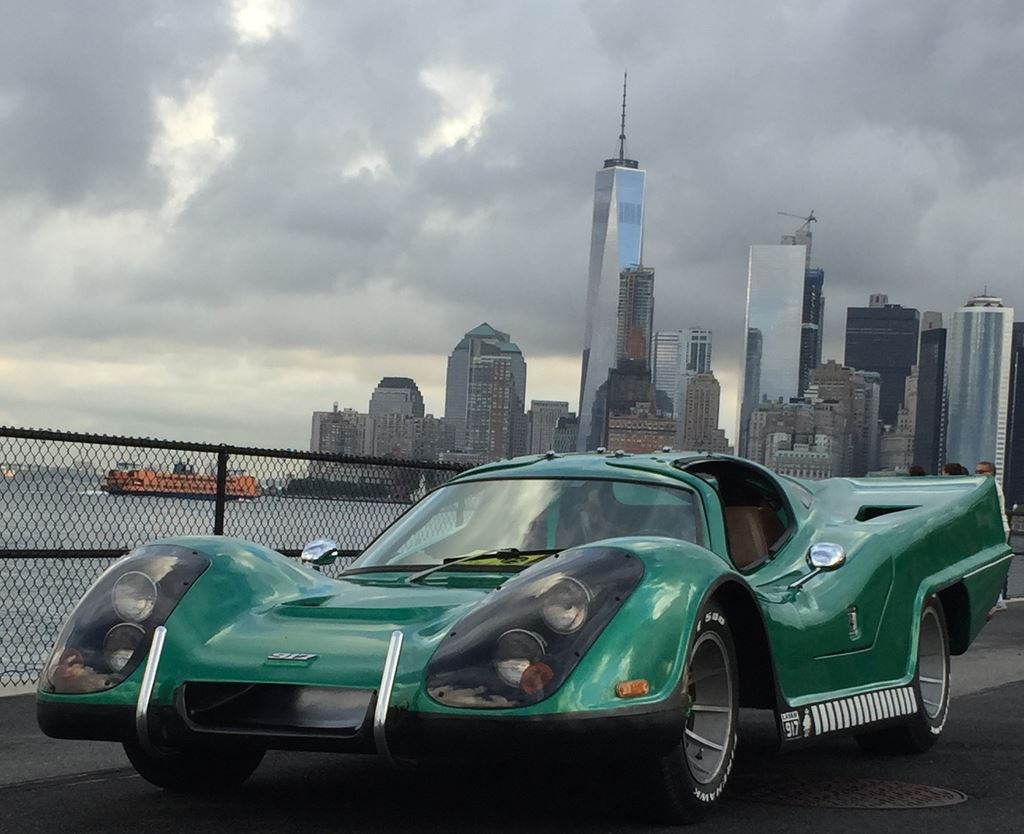 Picture of my car at the Governor's Island Car Show with World Trade Center in background