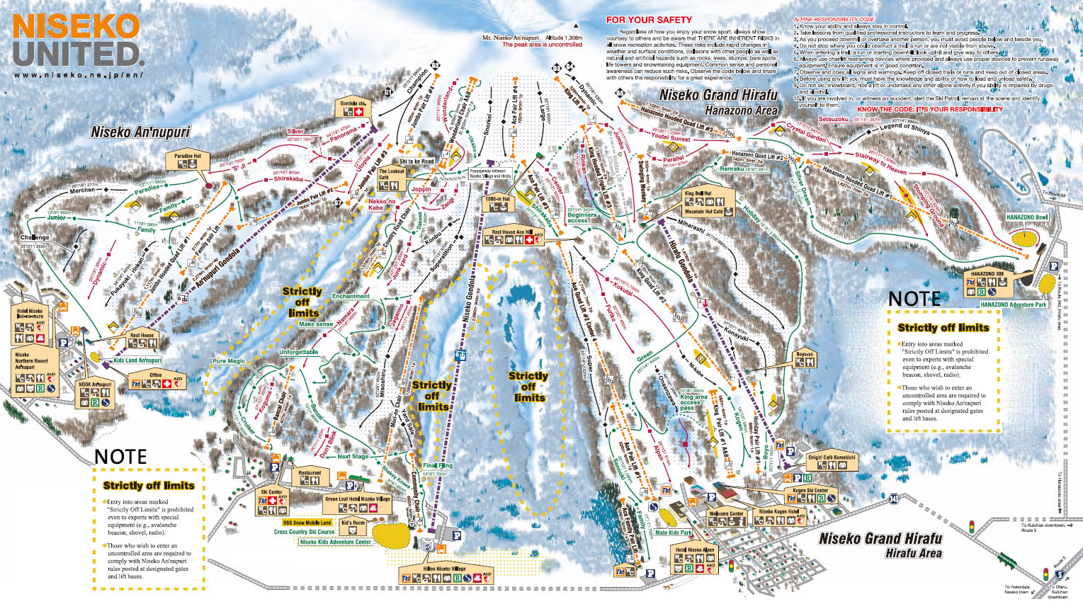 Niseko Japan Ski Map