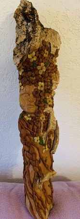 "Cottonwood Bark 22"" tall Bark Woman carved as a wife to my Zen Green Man.  Finished with Shoe Polish in Natural for the light areas, acrylic paint for some leaves &  flowers & Howard's for the rest"