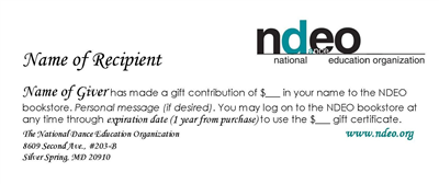 NDEO, Online Store Gift Certificate