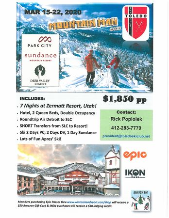 Zermatt Utah Trip by TSC & Mountain Man Sports to Deer Valley, Park City and Sundance ski resorts March 15-22, 2020.