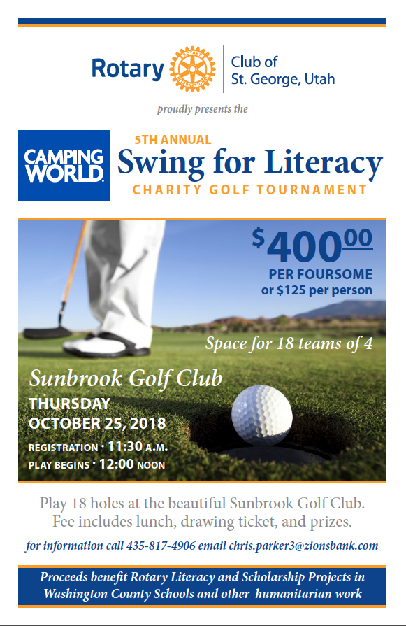 2018 Golf For Literacy Tournament Flyer