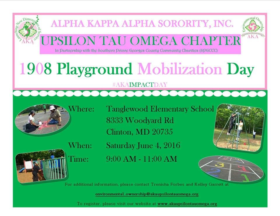 The Upsilon Tau Omega Chapter of Alpha Kappa Alpha Sorority is set to repair a student playground area for mentally and  physically disabled youth in Clinton, MD #ImpactDay #1908PlaygroundMobilization