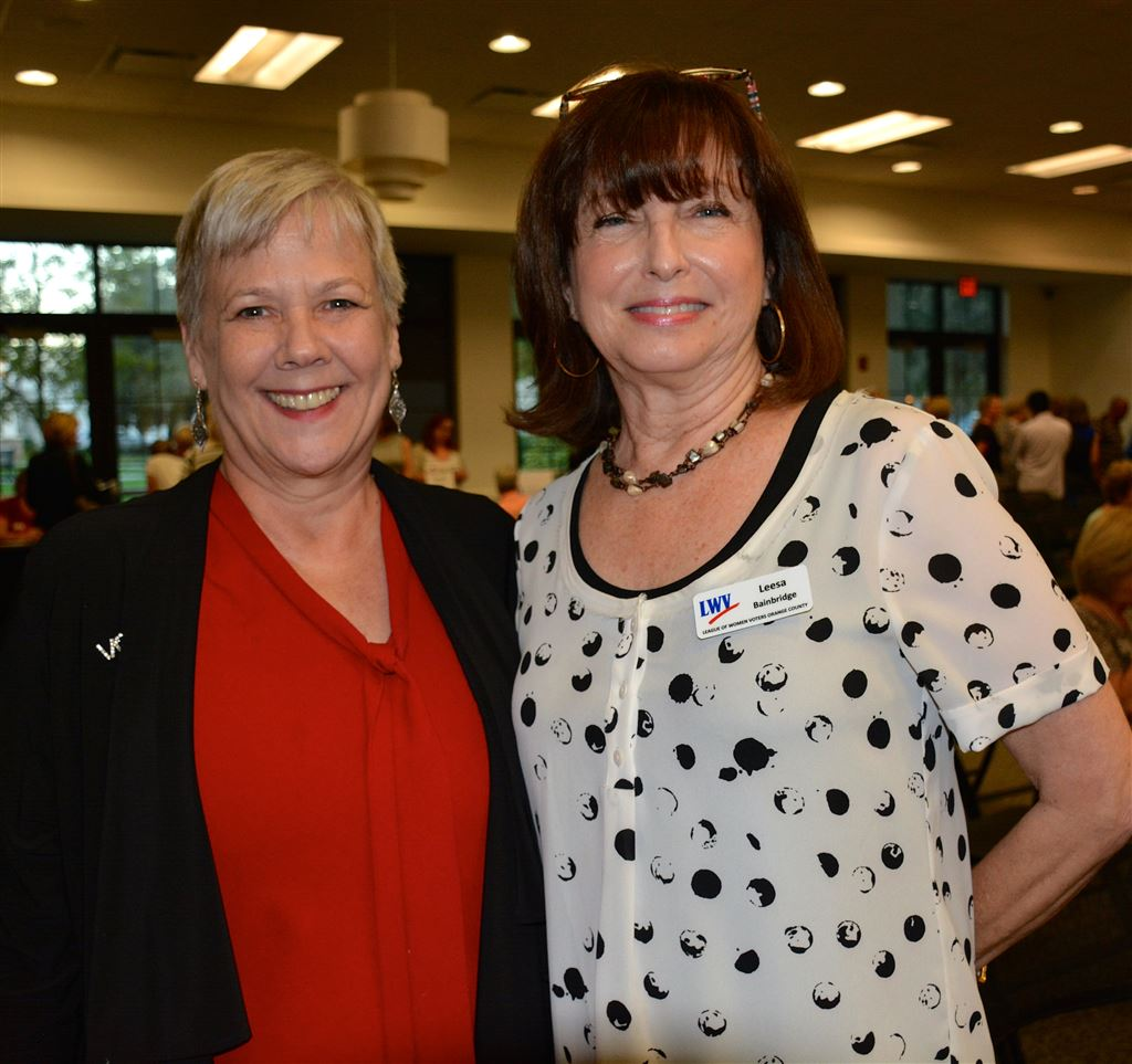 League officers & committee heads welcomed new members at the fall League orientation Oct. 16 in Winter Park. Pat Brigham, Florida League President, was keynote speaker. Barbara Knapp hosted.