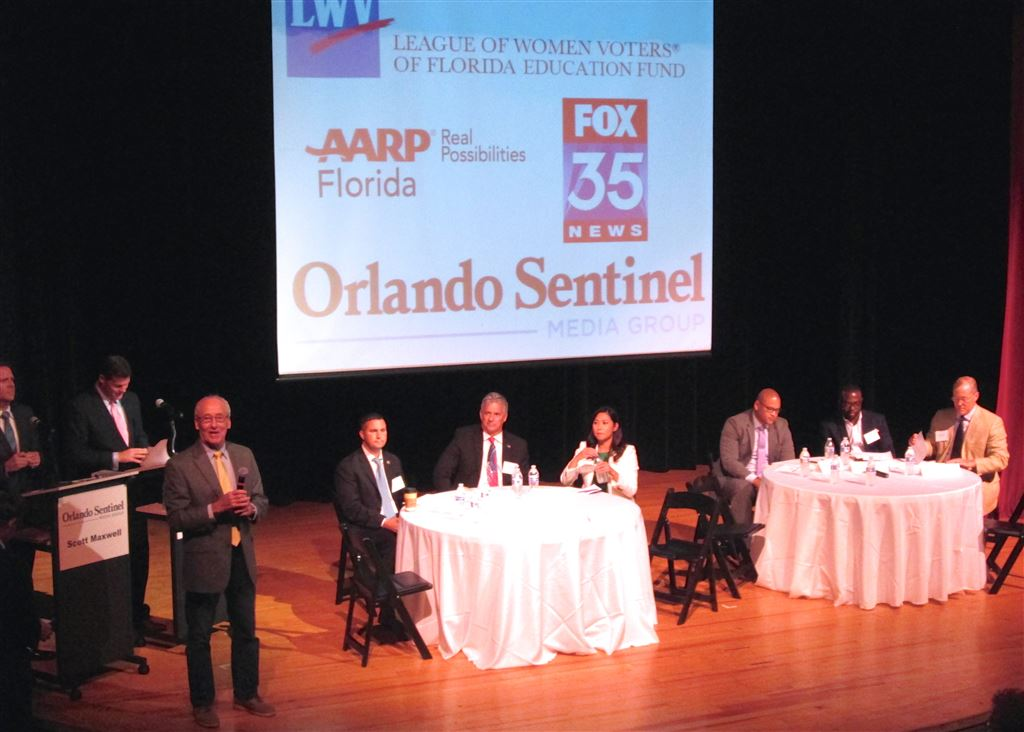 Congressional Candidates from Districts 7,9,10 in forum atOrlando Science Center. Moderators Scott Maxwell-Orlando Sentinel and Ryan Elijah FOX 35. Sponsored by League, AARP, FOX, Orlando Sentinel.