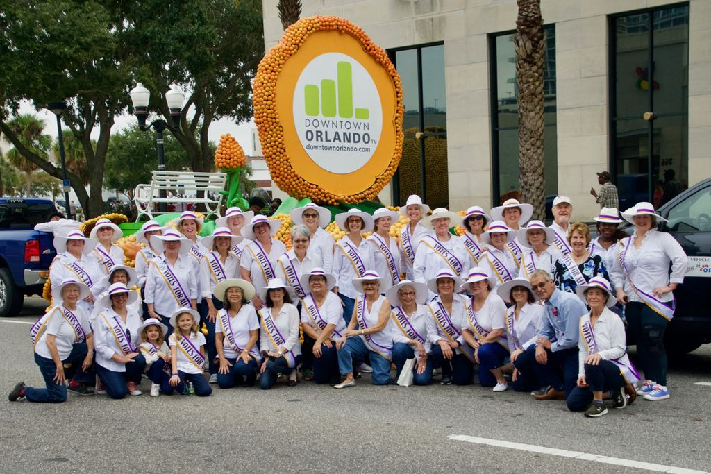 Kicking off our 80th Anniversary celebration by marching in the Citrus Parade wearing our #votes4all regalia