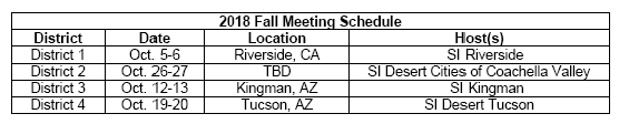 2018 Fall Meeting Schedule for April News Blast