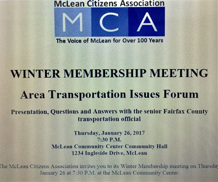 MCA Winter Membership Meeting Featuring a Public Forum  on Area Traffic and Transportation Issues