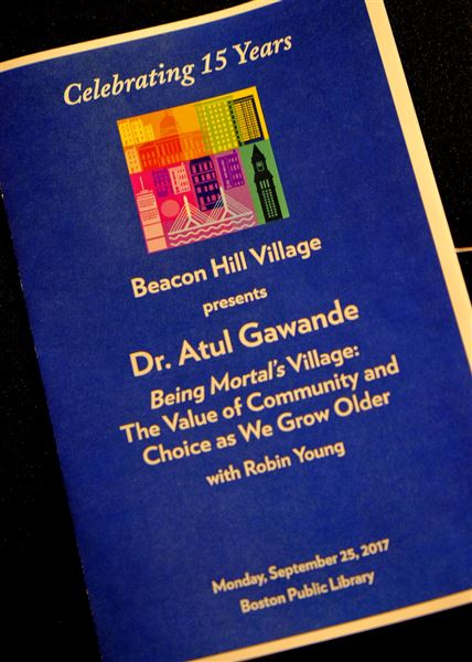 Members view a webcast of a discussion of lifestyle choices and the Village movement, with Dr. Atul Gawande and Robin Young, of NPR.  The event marked the 15th anniversary of the first Village/