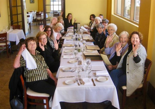 Village women get their own lunch group.