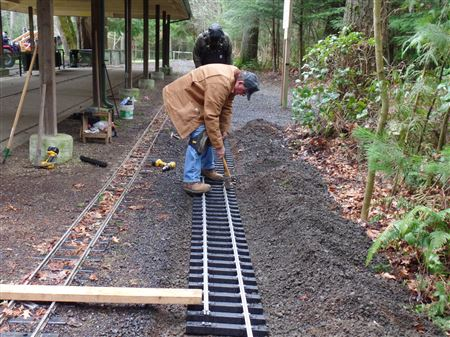 Working on the track, garden planter at the depot and other tasks on Saturday March 8th, 2014