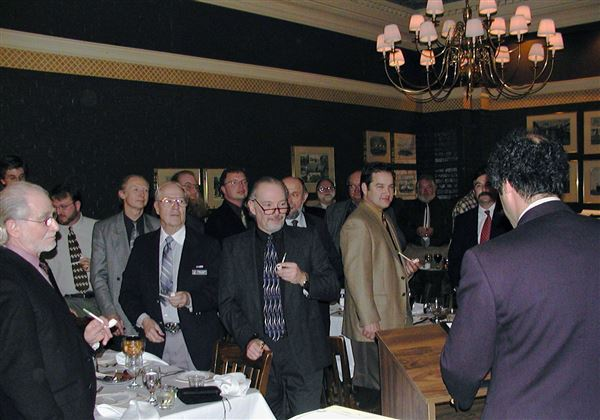 Our second annual dinner (1/18/2003) with guest speaker, Ben Rapaport.