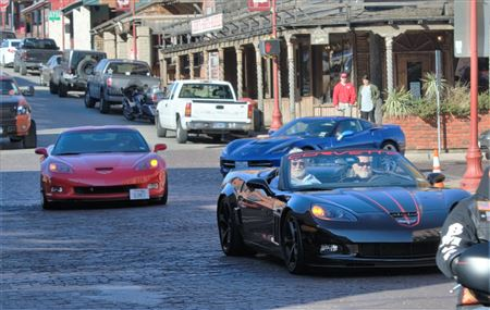 Lone Star Corvette Club visits the Fort Worth Stock Yard.