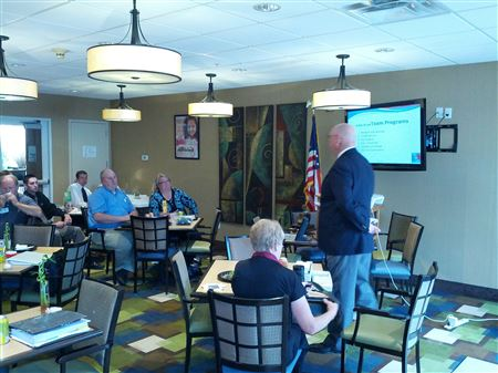 Photos of District Governor Steve Skinner during his visit to the Rotary Club of American Fork.