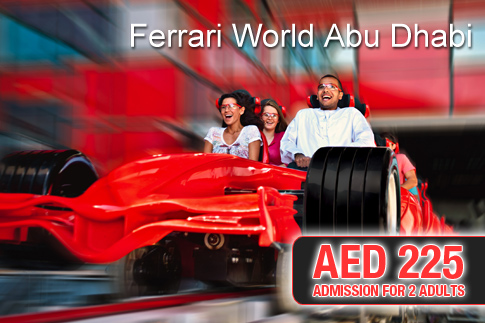 super deal ferrari world abu dhabi 2 admission tickets for. Black Bedroom Furniture Sets. Home Design Ideas