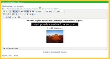 pantalla de modificar el contenido de una página