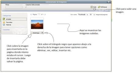 panel de gestion de imagenes