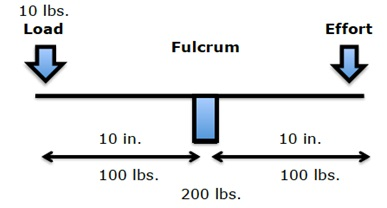 If a 10-pound load is 10 inches from the fulcrum, the effective load on the fulcrum is 100 pounds. The addition of the counterbalancing effort would bring the effective load on the fulcrum to 200 pounds.