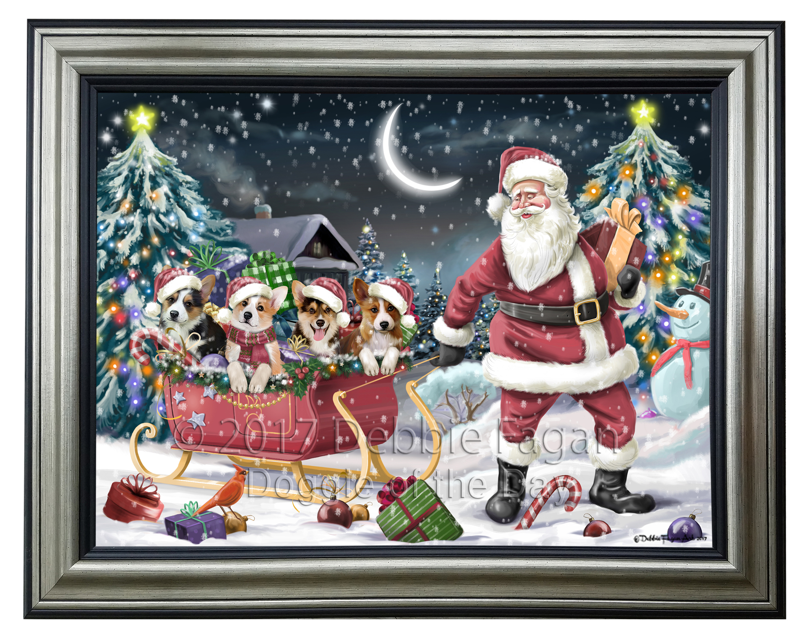 Merry christmas holiday santa sled corgi dogs framed canvas print merry christmas holiday santa sled corgi dogs framed jeuxipadfo Choice Image