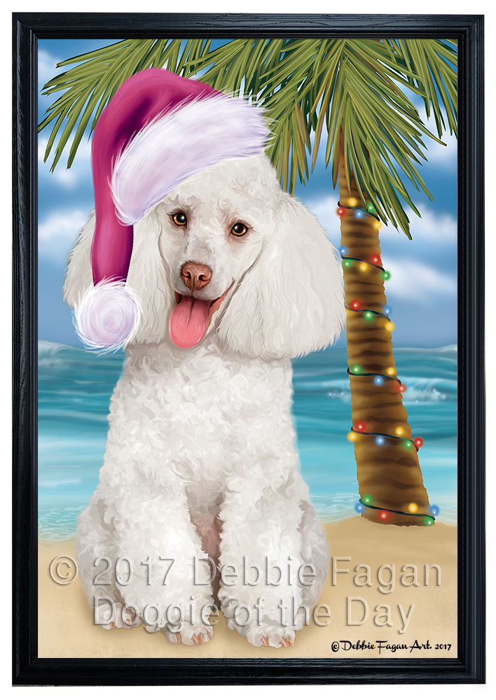 Summertime Happy Holidays White Poodle Dog Framed Canvas Print Wall ...