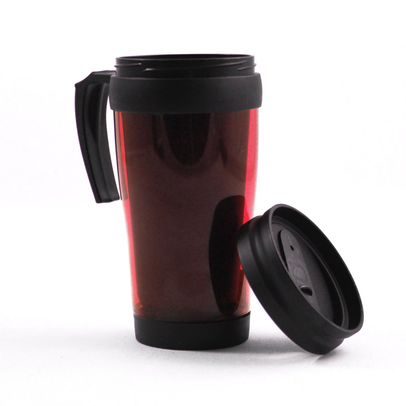 16oz Blue Travel Mug Car Coffee Cup Tumbler Auto Beverage Holder - Red