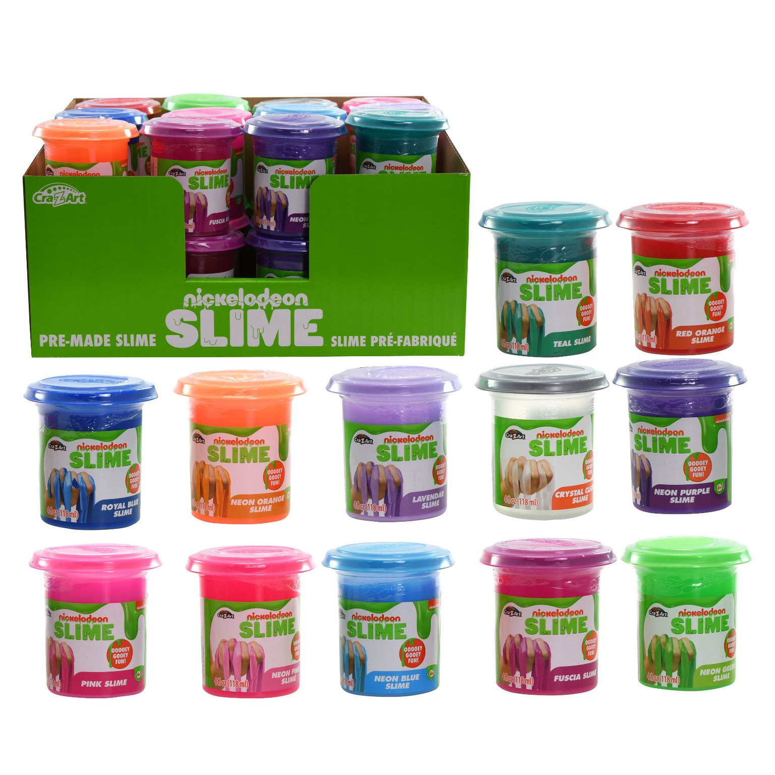Nickelodeon 4oz Slime Cannisters 12 Assorted Colors Pack