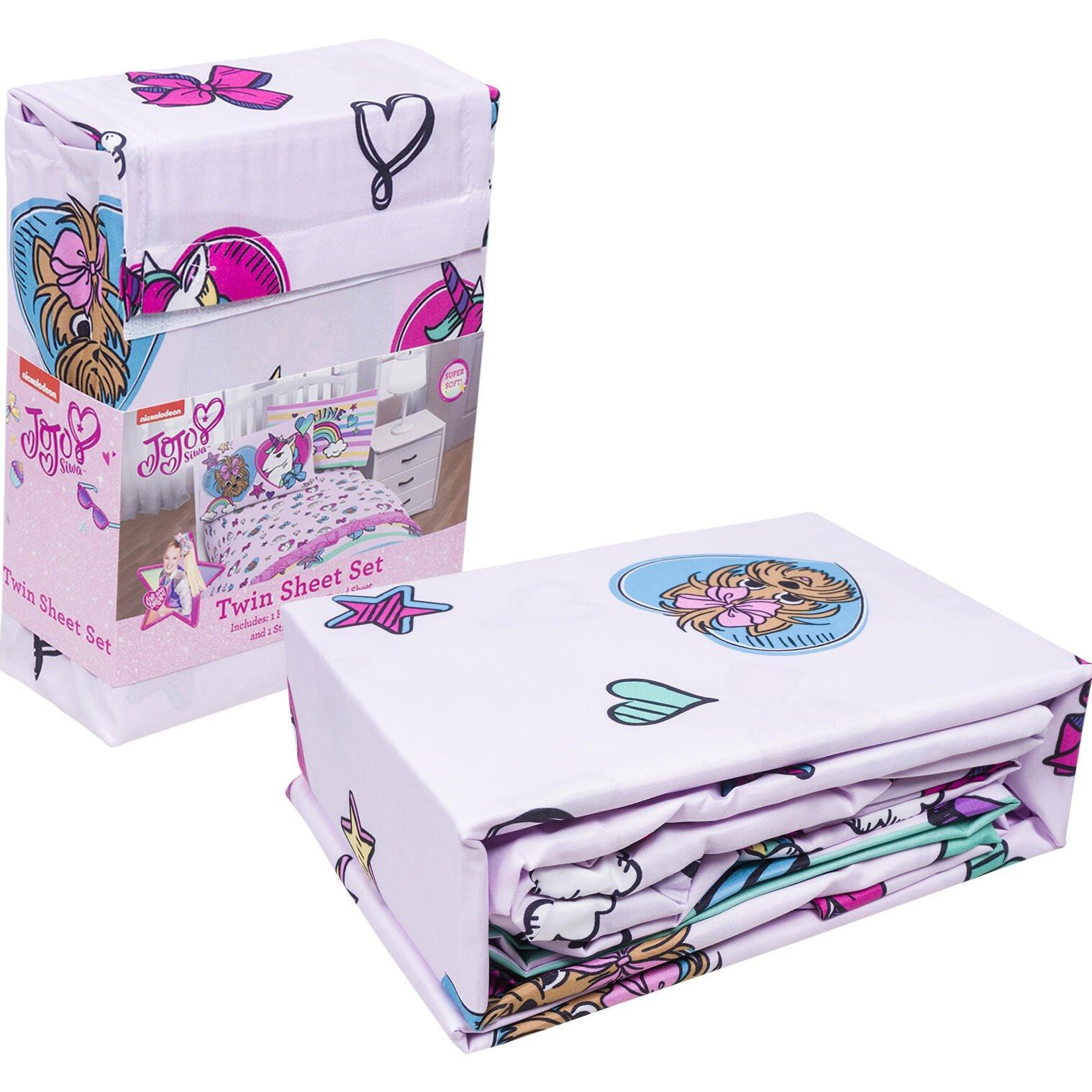 Nickelodeon JoJo Siwa Kids Pink Rainbow Unicorn Bedding Twin Sheets Set for Girls, 3pc