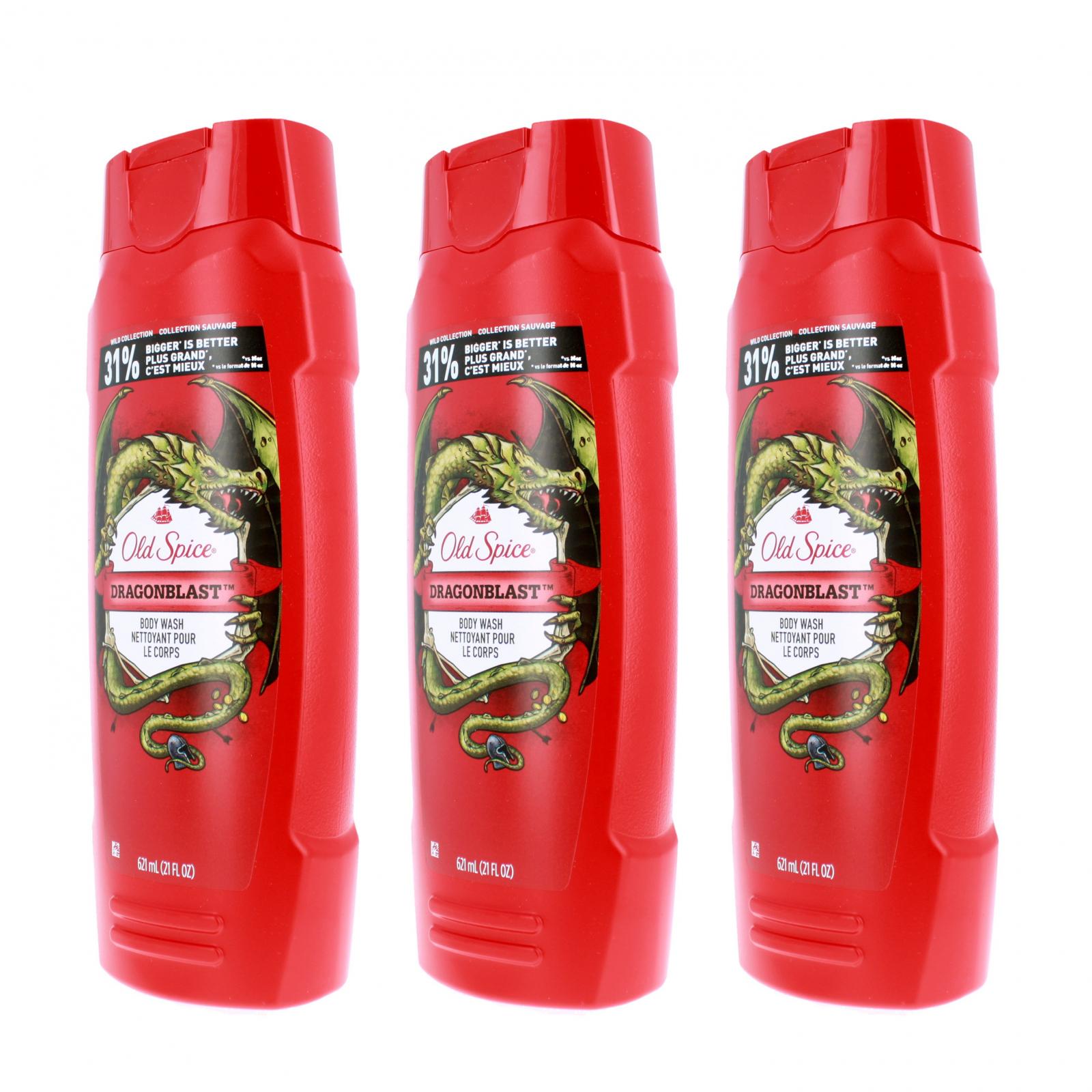 Old Spice Dragonblast Scent Mens Body Wash Shower Gel 3pk