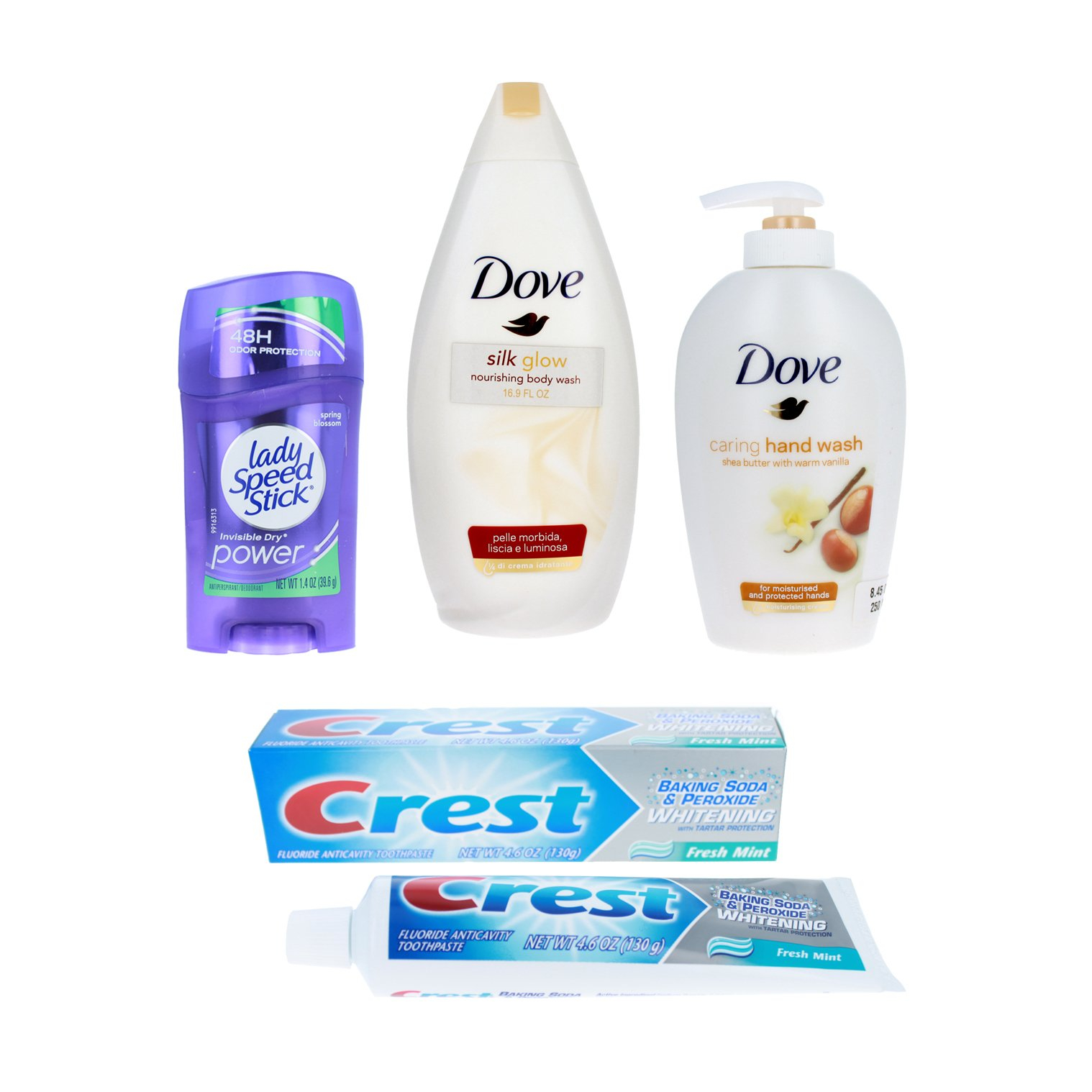 Womens Toiletries Gift Set Dove Body Wash Crest Toothpaste