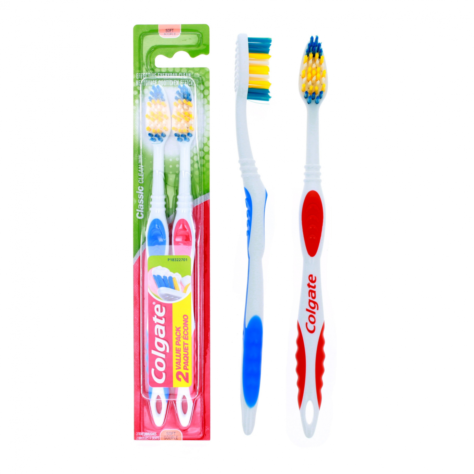 Colgate Toothbrush and Tongue Cleaner 2 Pack Soft Bristles