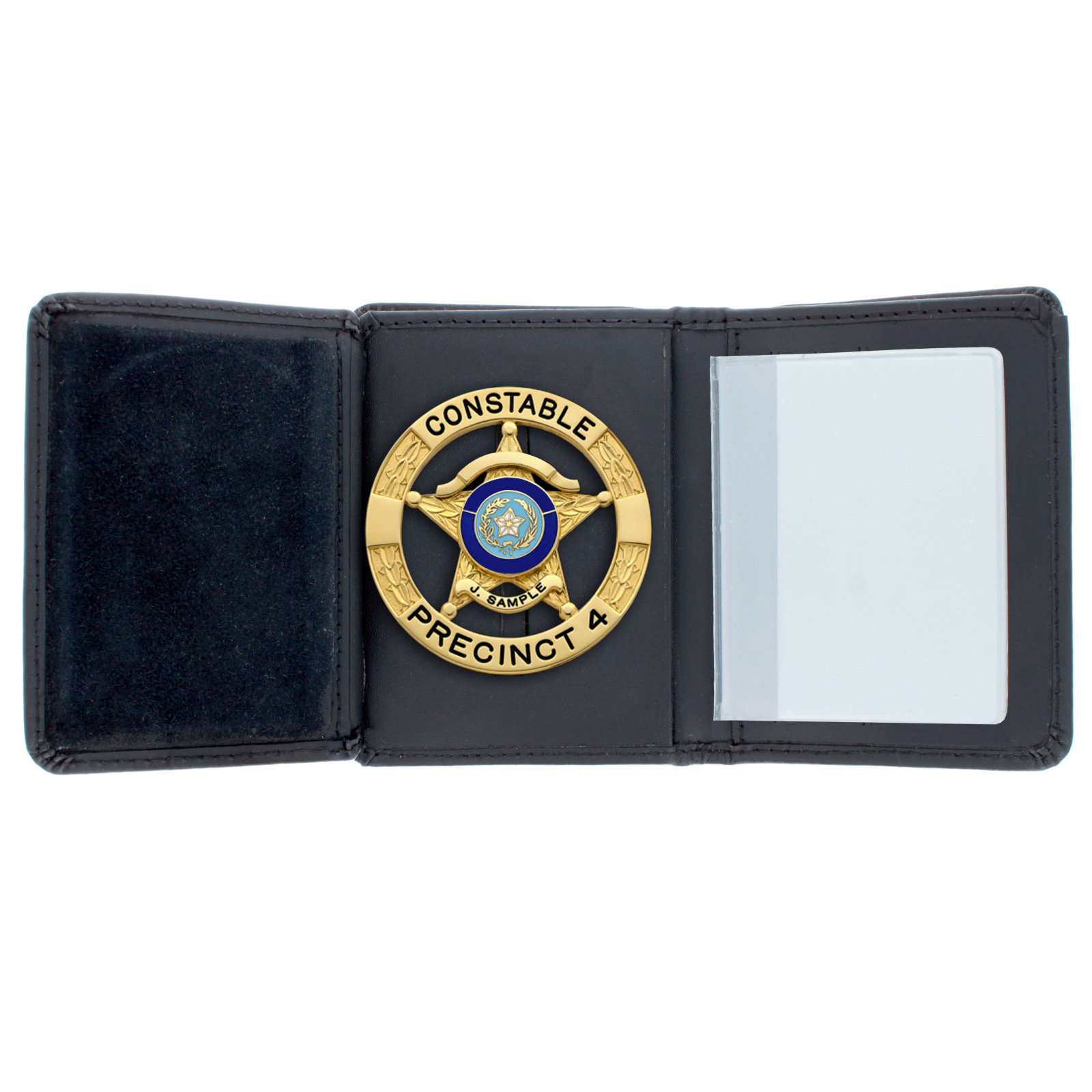 ASR Federal Law Enforcement RFID Leather Hidden Badge Folding Wallet - Round